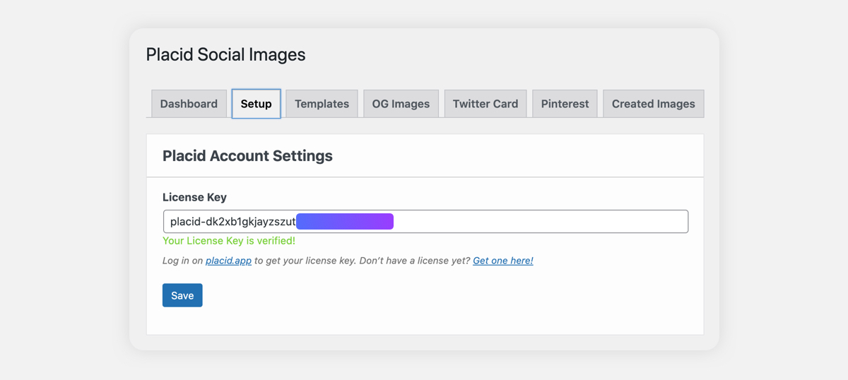 Placid for WordPress license key setup