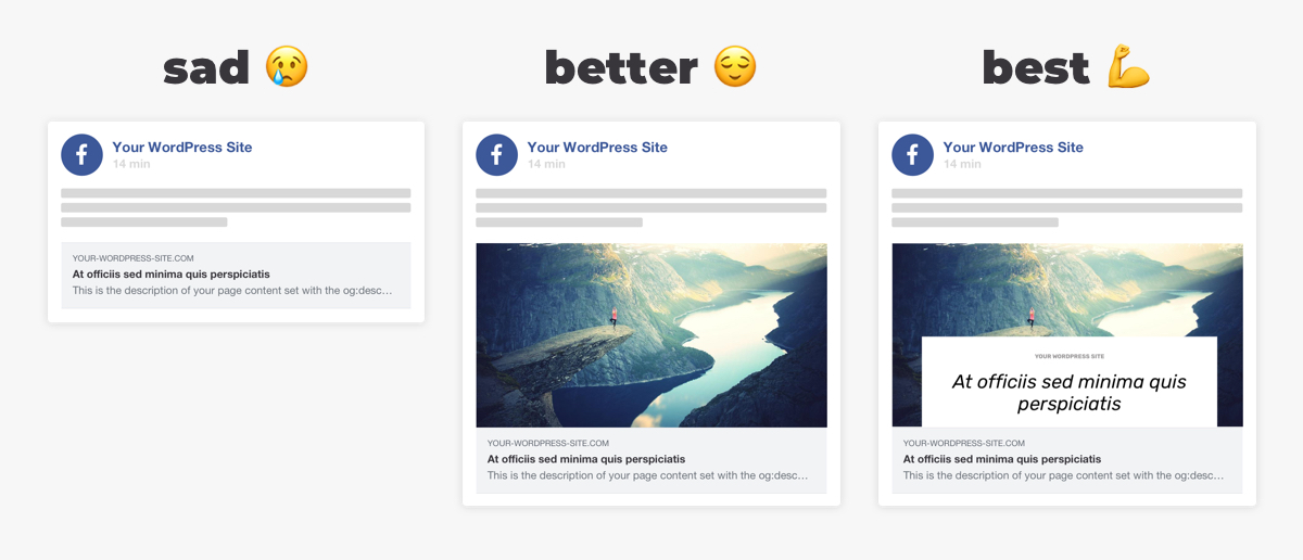 Different versions of social card previews on Facebook