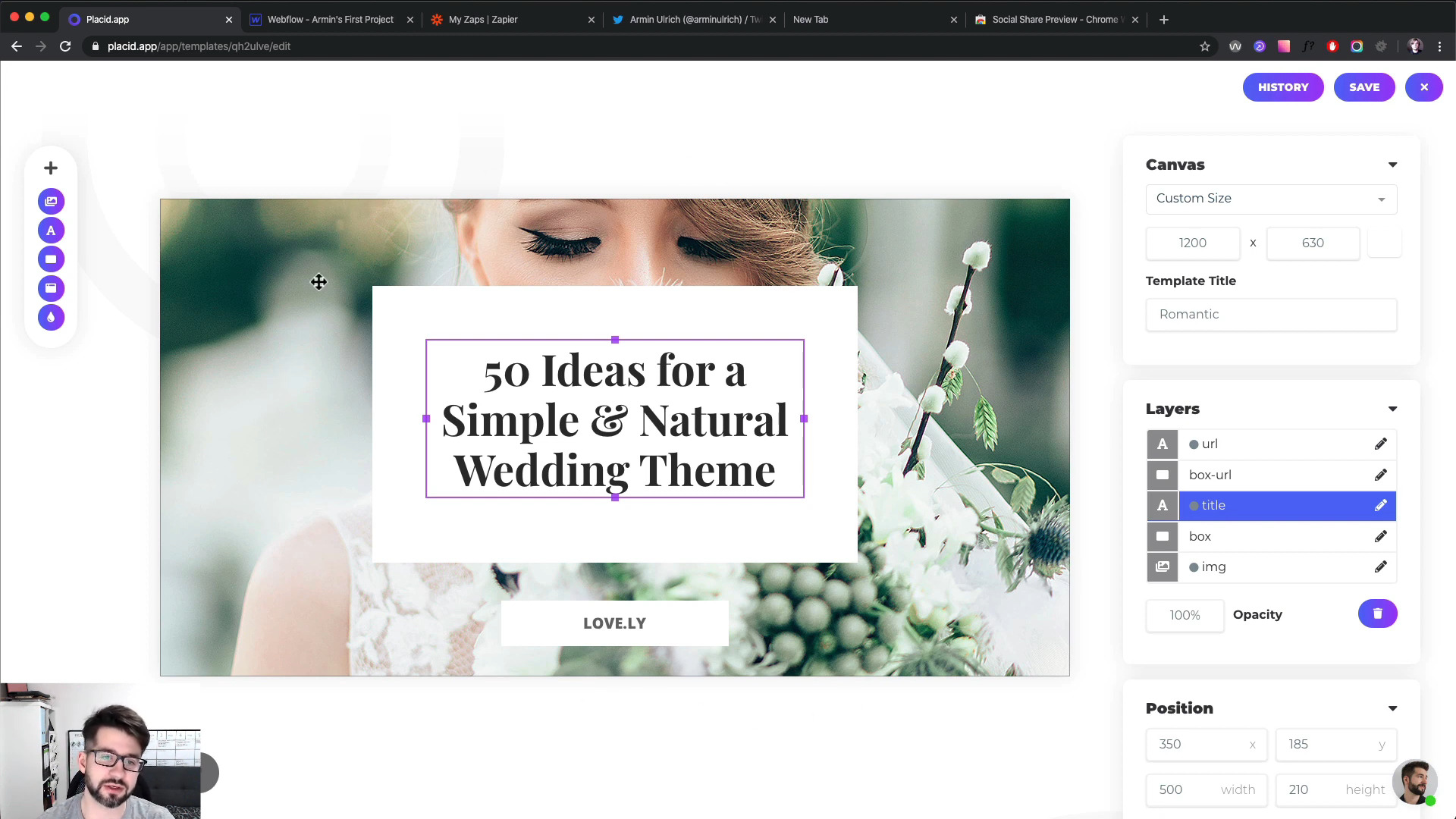 Video Tutorial Screenshot – Placid template in the editor