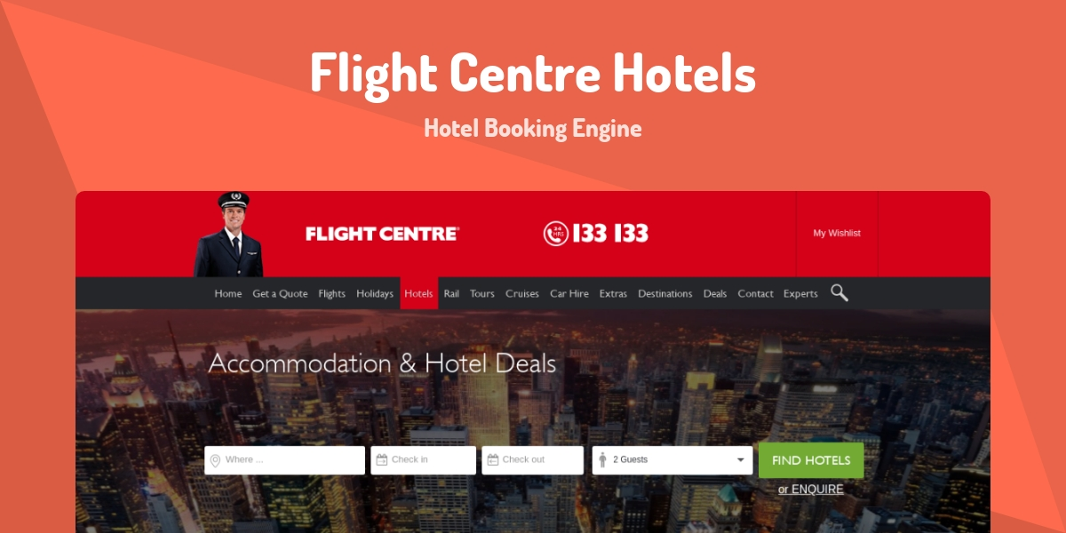 Flight Centre Hotels - Made with Laravel