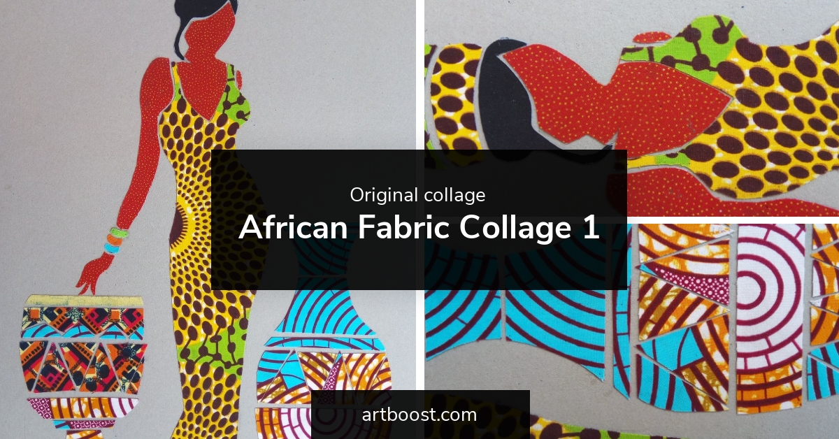 African Fabric Collage 1 by Dio - Original collage
