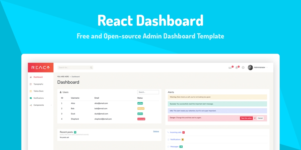 React Dashboard - Made with React js