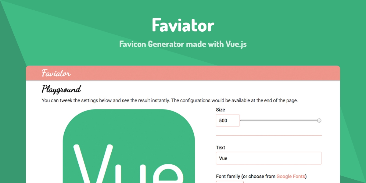 Faviator - Made with Vue js