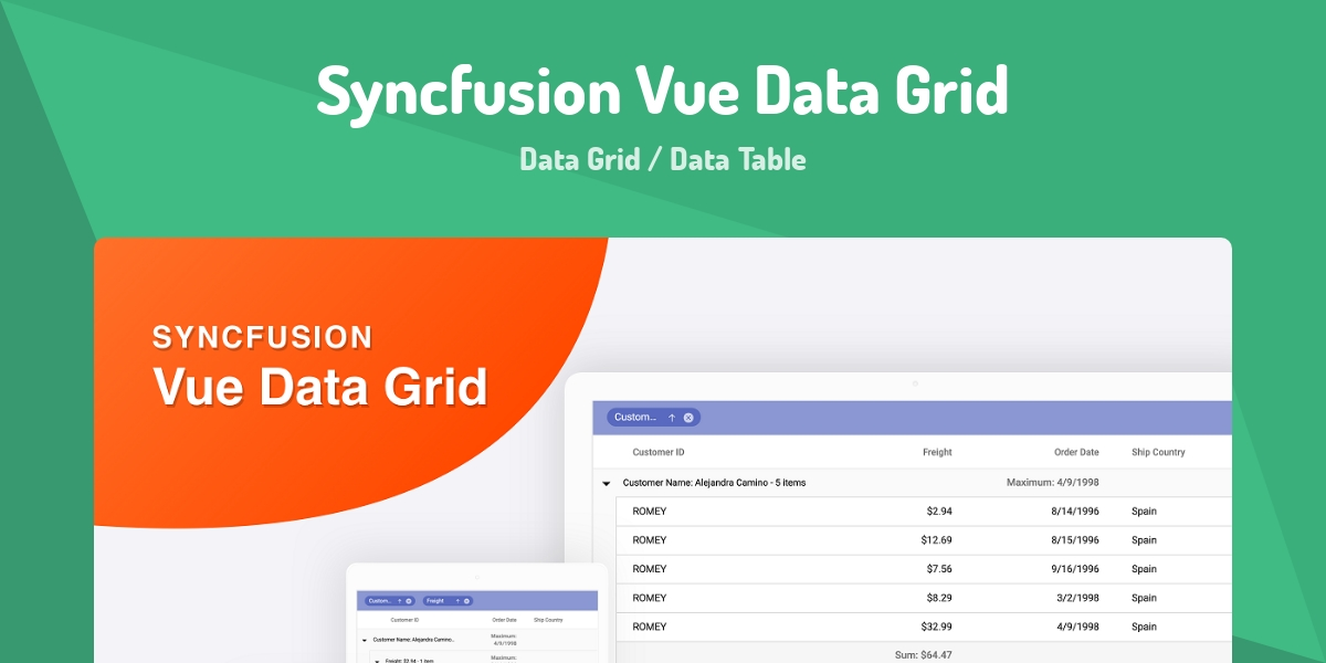 Syncfusion Vue Data Grid - Made with Vue js