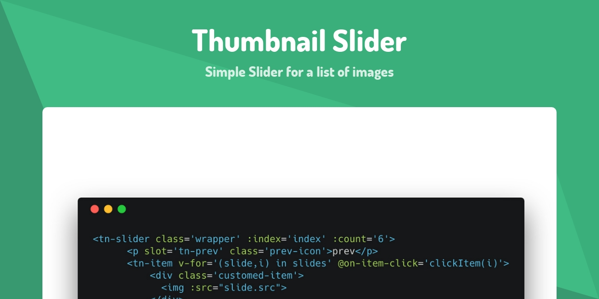 Thumbnail Slider - Made with Vue js