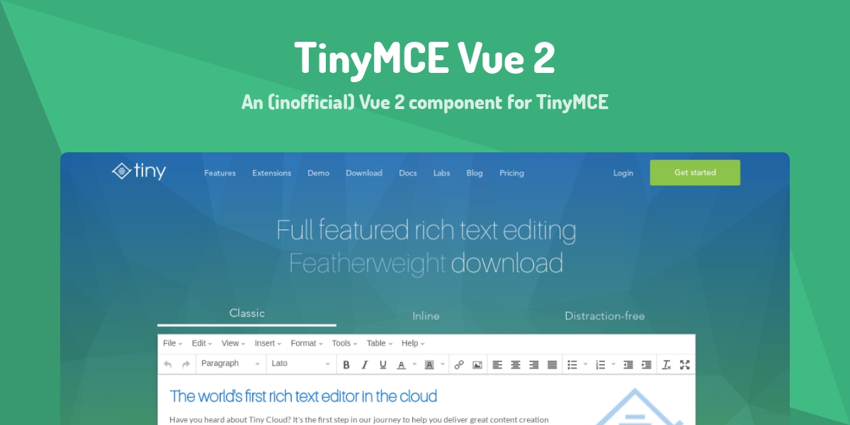 TinyMCE Vue 2 - Made with Vue js