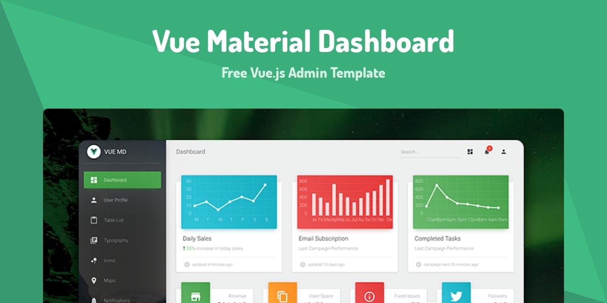Vue Material Dashboard - Made with Vue js