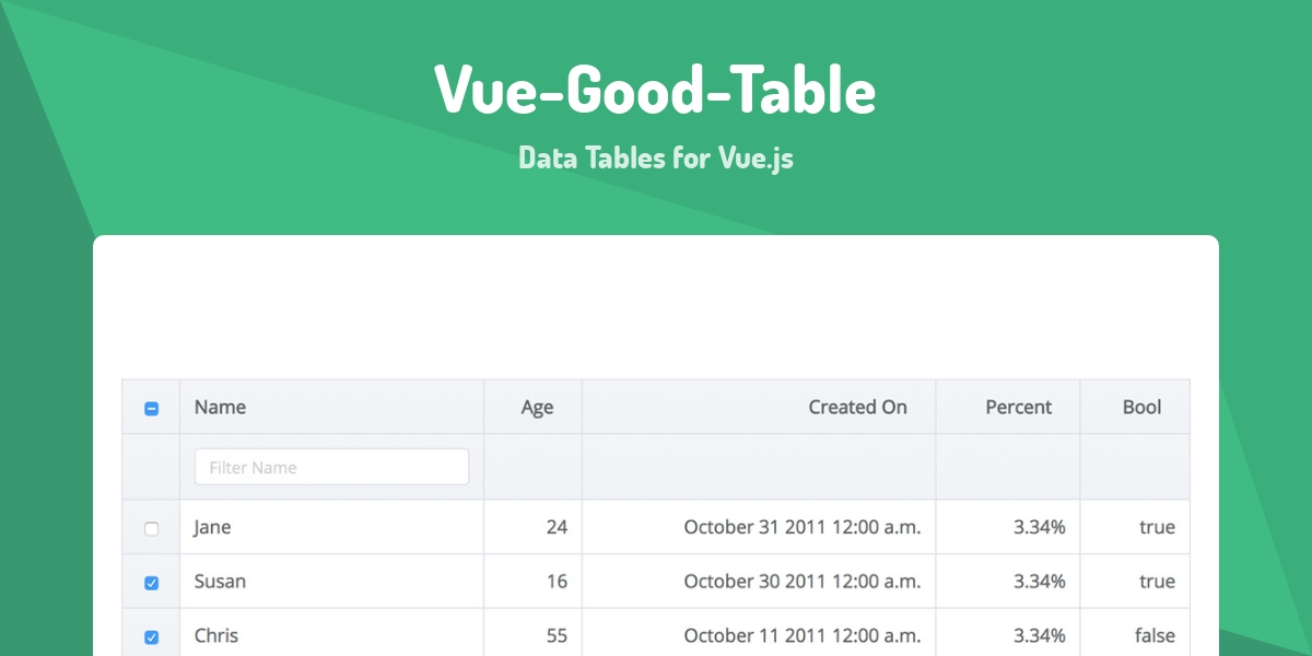 Vue-Good-Table - Made with Vue js